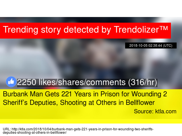 Burbank Man Gets 221 Years in Prison for Wounding 2 Sheriff&